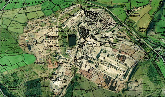 Aerial photograph of Hazelhead clay pits overlain     by 1948 OS map which shows Hazelhead and Sledbrook collieries and the Hepworth     Iron Works