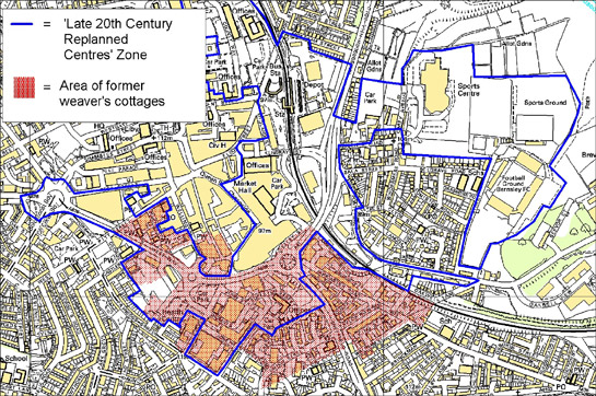 Figure 4: Area south of Barnsley's commercial centre dominated by weavers' cottages in the 19th century (in red), in relation to the 'Replanned Centres' zone