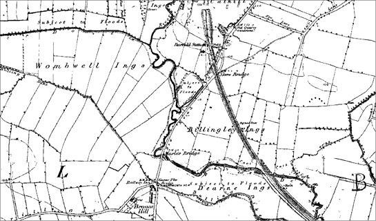 Dearne Valley 'Ings' south of Darfield, showing highly regular enclosures, as marked on first edition (1854) OS maps