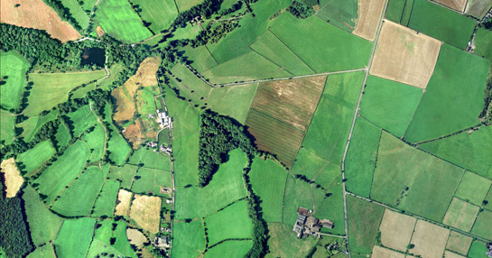 Aerial photograph of Gunthwaite, Barnsley, showing piecemeal enclosure to the left and surveyed enclosure to the right of the picture