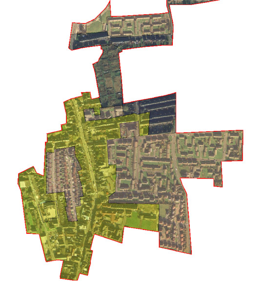 Figure 6: The 'Parkgate Rawmarsh' character area, showing the date of individual character units.