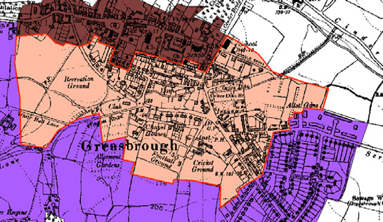 Figure 4: Greaseborough Industrial Settlement' (pink) grew up to the south of the historic settlement core (brown) around early squatter settlement on a former green. It is noticeably more irregular and varied in plan form than either the historic core or the municipal estates to the south (purple)