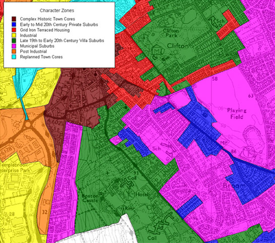 Figure 2: The villa suburb zone (green) grew close to the historic core of the town, as developed by 1850, (brown) but away from the industrial areas to its west and north (yellow).  Later suburban development has since enveloped these areas (pink & blue)