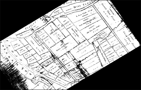 Figure 3(top): Rectified extract of Kelk's 1764 map of Rotherham