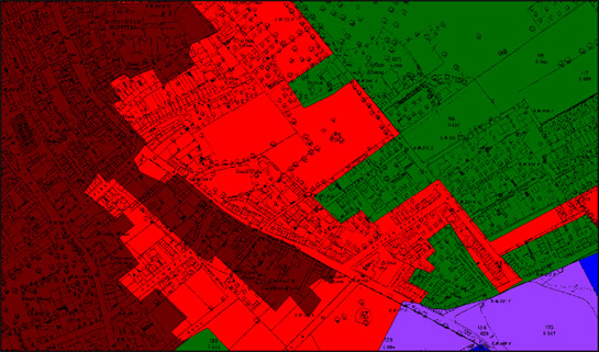 Figure 3: The 'Clifton Terraces' character area (red) in 1891 surrounded by historic core (brown) and 19th century villa suburbs (green). The area was later infilled with grid iron terraced developments.