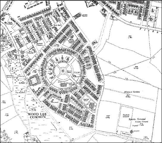 Figure 3:  The plan of 'Model Village, Maltby', built in 1910, shows most of the characteristic features of this zone, including radial street plans, generous private and communal open spaces, miners welfare recreational facilities, churches for a variety of denominations and an area marked by larger houses for middle and senior pit management.