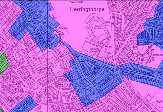 Figure 2:  Housing patterns in this zone (blue) are similar in plan form to those in the contemporary municipal housing areas that often surround them (pink, but closer examination shows a lower density of development with greater frequency of detached housing and a concentration of development around main arterial roads.