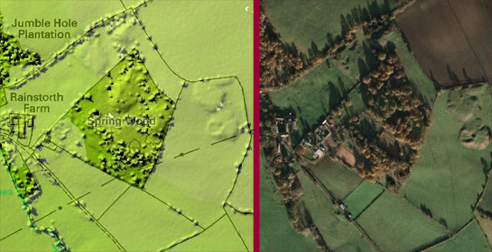 Figure 2: LIDAR Survey has the potential to reveal earthworks (such as these probable bell pit spoil heaps within Spring Wood) that are otherwise poorly visible on vertical aerial photographs.