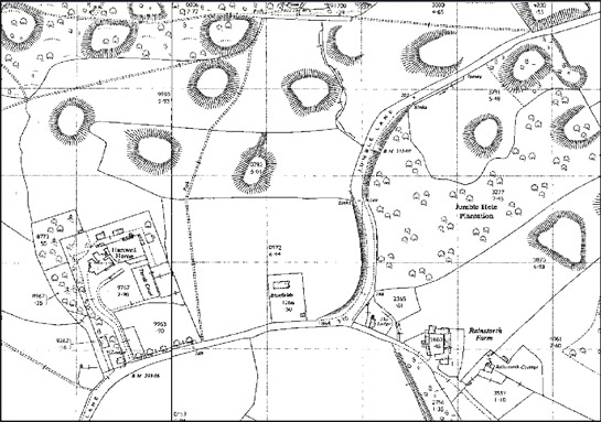 Figure 3: These extracts of 1:2500 OS mapping were published in 1965 and 1970 and show the rapid landscape change around the time of construction of the M1 motorway. All traces of spoil heaps in this area have been ploughed flat; some fields have been truncated and rationalised; Jumble Hole plantation has largely been felled