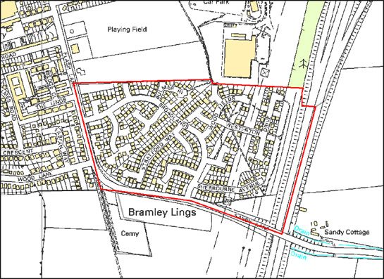 Figure 2: This 18 hectare cul-de-sac development in Bramley shows how the pattern reduces through traffic most houses, the majority of which are situated on the roads that branch off the main arterial road of Broadlands