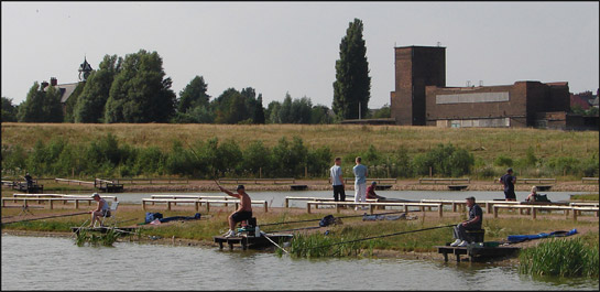 Figure 3: Fishing ponds on the site of Kiveton Park Colliery (closed 1994). Most of the site was flattened following closure although the Grade II listed 1877 colliery offices (top left behind trees) and 1938 pit-head baths survive.