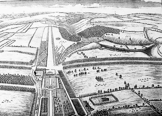 Figure 1: Ravenfield Park in the 1720s, as drawn by Thomas Badeslade for Campbells 'Vitruvius Brittanicus'.  This image shows a clear example of the formal geometric style that dominated 16th and early 17th century parkland designs