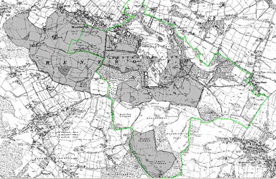 Figure 6: War time and post-war open cast mining (grey shading) in relation to Wentworth Park (green boundary) and its surrounding estate countryside.