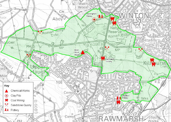 Figure 3: 'Swinton and Rawmarsh Commons' character area, showing the sites of industrial activity depicted on the 1854 OS map