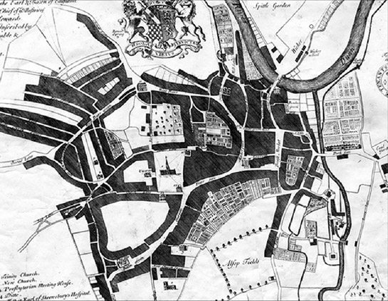 Ralph Gosling's map of Sheffield     shows the extent of the town by 1737