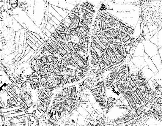 Figure 1: Manor and Woodthorpe Estates as depicted by the Ordnance Survey in 1938.  The radial plans of these estates were influenced both by the Garden City movement and also by the model settlements developed by colliery companies in the region in the early 20th century.