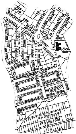 Figure 2: The Flower Estate illustrates the evolution of Sheffield's Cottage Estates in the early 20th century.  Houfton's cottages (making use of central greens) are in the south, whilst the slightly later 'Exhibition' houses, arranged on gently curving principles, are in the north.