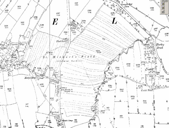 Text Box: Figure 5: 1894 OS mapping of the unfenced strips of St Michael's Field in Ecclesfield. One of the latest examples of open common field patterns in the County.