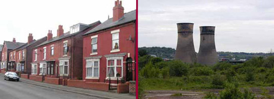 Left: Terraced housing, Darnall; Right: Cooling towers, former Blackburn Meadow power station